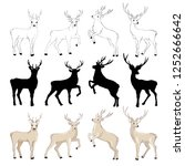 deer silhouette and sketch ... | Shutterstock .eps vector #1252666642