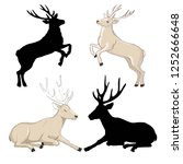 deer silhouette and sketch ... | Shutterstock .eps vector #1252666648