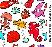 sea life seamless pattern | Shutterstock .eps vector #125266952