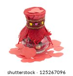 rose petals in a glass jar on a ... | Shutterstock . vector #125267096