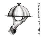 waiter hand holding cloche... | Shutterstock . vector #1252676245