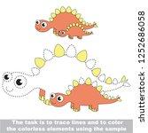 stegosaurus dinosaur mother and ... | Shutterstock .eps vector #1252686058