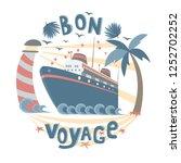 cruise ship floating between...   Shutterstock .eps vector #1252702252