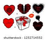 Set Of Hearts Hand Draw And...
