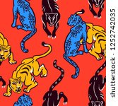 seamless pattern. wildcats on... | Shutterstock .eps vector #1252742035