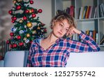 depressed woman portrait during ... | Shutterstock . vector #1252755742