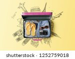 travel bag background concept.... | Shutterstock . vector #1252759018