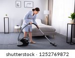 happy young housekeeper... | Shutterstock . vector #1252769872