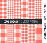 coral pink pixel gingham and... | Shutterstock .eps vector #1252784788