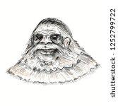 Stock photo face of legendary bigfoot mysterious humanoid s a sasquatch creature 1252799722