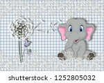 Stock photo  d wallpaper little elephant on check fabric background 1252805032