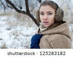 winter portrait of beautiful... | Shutterstock . vector #125283182