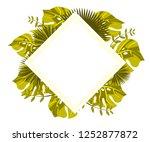 flower frame monstera ufo green ... | Shutterstock .eps vector #1252877872