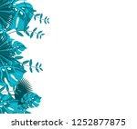 flower frame monstera ufo green ... | Shutterstock .eps vector #1252877875