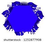 flower frame monstera ufo green ... | Shutterstock .eps vector #1252877908