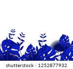 flower frame monstera ufo green ... | Shutterstock .eps vector #1252877932