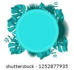 flower frame monstera ufo green ... | Shutterstock .eps vector #1252877935
