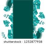 flower frame monstera ufo green ... | Shutterstock .eps vector #1252877938