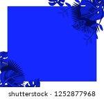 flower frame monstera ufo green ... | Shutterstock .eps vector #1252877968