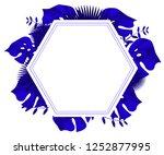 flower frame monstera ufo green ... | Shutterstock .eps vector #1252877995