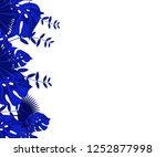 flower frame monstera ufo green ... | Shutterstock .eps vector #1252877998