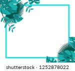 flower frame monstera ufo green ... | Shutterstock .eps vector #1252878022