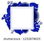 flower frame monstera ufo green ... | Shutterstock .eps vector #1252878025