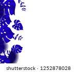 flower frame monstera ufo green ... | Shutterstock .eps vector #1252878028