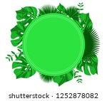 flower frame monstera ufo green ... | Shutterstock .eps vector #1252878082