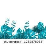 flower frame monstera ufo green ... | Shutterstock .eps vector #1252878085