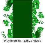 flower frame monstera ufo green ... | Shutterstock .eps vector #1252878088