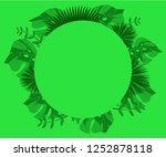flower frame monstera ufo green ... | Shutterstock .eps vector #1252878118