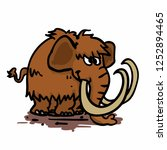 big funny mammoth cartoon   Shutterstock .eps vector #1252894465