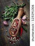 Peppercorn Mix In Wooden Scoop...