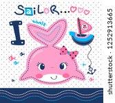 cute cartoon pink whale girl... | Shutterstock .eps vector #1252913665