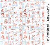 christmas background in doodle... | Shutterstock . vector #1252932442