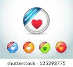 vector glossy love heart icon... | Shutterstock .eps vector #125293775