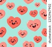 cute pink hearts cartoon... | Shutterstock .eps vector #1252967902