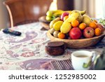 table covered with a tablecloth ... | Shutterstock . vector #1252985002