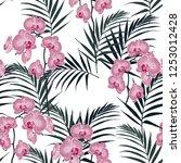 amazing vector tropical flowers ... | Shutterstock .eps vector #1253012428