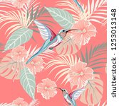 tropical plants  hibiscus and... | Shutterstock .eps vector #1253013148