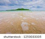 tropical beach  stone and beach ... | Shutterstock . vector #1253033335