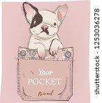 little pug in pocket. vector...   Shutterstock .eps vector #1253036278