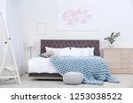 stylish room interior with... | Shutterstock . vector #1253038522