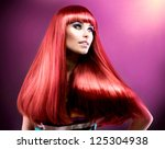 hair. healthy straight long red ... | Shutterstock . vector #125304938