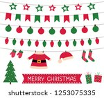 santa clothes bunting and... | Shutterstock .eps vector #1253075335