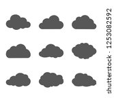 grey cloud vector icon set... | Shutterstock .eps vector #1253082592