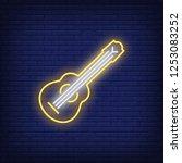 hawaiian ukulele guitar neon... | Shutterstock .eps vector #1253083252