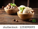 delicious ice cream with... | Shutterstock . vector #1253090095