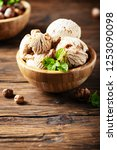 delicious ice cream with... | Shutterstock . vector #1253090098